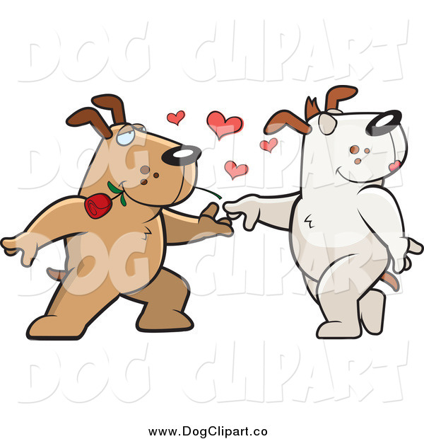 Vector Clip Art of a Sweet Brown Doggy Character Biting a Rose and Dancing with a Female