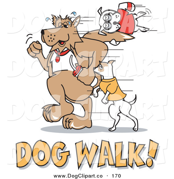 Vector Clip Art of a Trio of Dogs Walking with Dog Walk Text