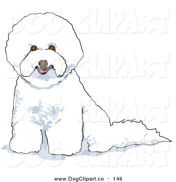 Vector Clip Art of a White Bichon Frise Dog Panting