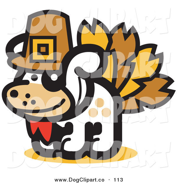 Vector Clip Art of a White Dog Disguised As a Thanksgiving Turkey