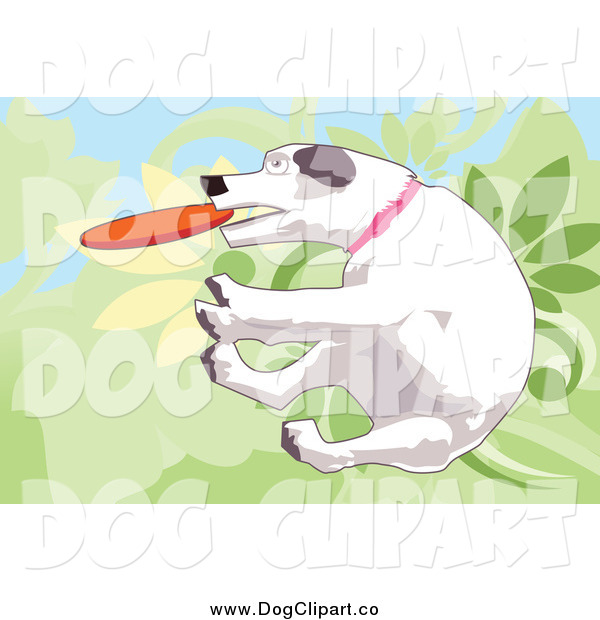 Vector Clip Art of a White Dog Jumping and Fetching a Disc