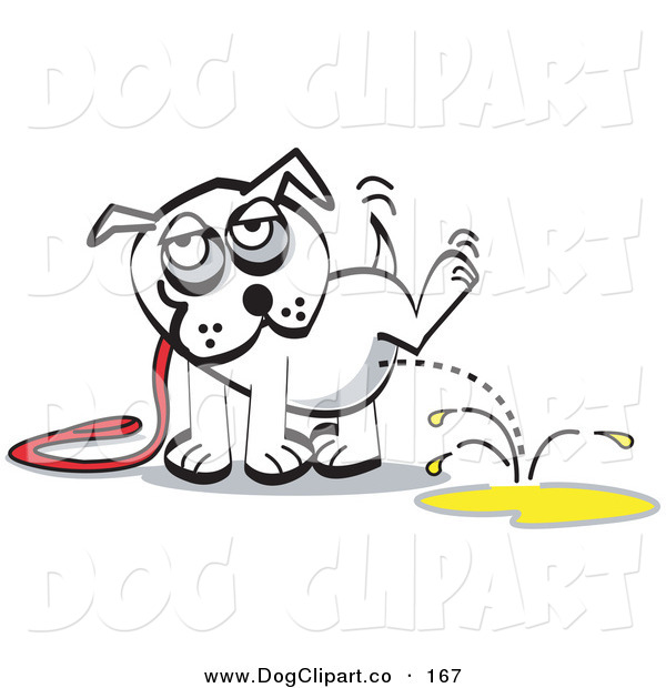 Vector Clip Art of a White Pet Dog on a Leash, Lifting His Leg and Urinating on the Ground