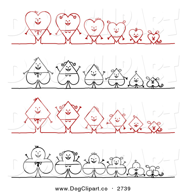 Vector Clip Art of Heart, Spade, Diamond and Club Stick Families