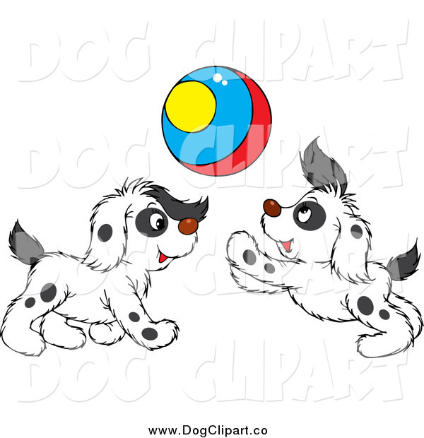 Vector Clip Art of Spotted Puppies Playing with a Colorful Ball