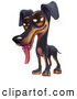 Cartoon Clip Art of a Cute and Happy Doberman Pinschers Puppy with Big Brown Eyes, Panting with His Tongue Hanging out His Mouth by Tonis Pan