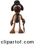 Clip Art of a 3d Brown Gentleman Dog Facing Front with an Umbrella by Julos