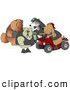 Clip Art of a Border Collie Dog Wearing a Vest and Driving a Green Atv Beside a Bloodhound on a Red Quad, Chatting with a Tough Bulldog and Chow Chow by Djart
