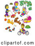 Clip Art of Mothers, Children, Toys, Dogs and Pets by Alex Bannykh