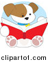 Vector Cartoon Clip Art of a Cute Puppy Dog Reading a Book by Maria Bell