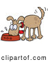 Vector Cartoon Clip Art of a Excited Happy and Hungry Brown Dog Wagging His Tail and Slobbering in His Food Bowl by Gnurf