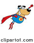 Vector Cartoon Clip Art of a Flying Super Hero Dog Flashing a Smile by Hit Toon