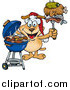 Vector Cartoon Clip Art of a Grilling Dog Wearing a Santa Hat and Holding Food on a BBQ Fork by Dennis Holmes Designs