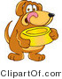 Vector Cartoon Clip Art of a Hungry Brown Dog Mascot Cartoon Character Holding a Yellow Food Dish, Waiting to Be Fed by Toons4Biz