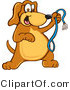 Vector Cartoon Clip Art of a Smiling Brown Dog Mascot Cartoon Character Holding a Leash, Ready for a Walk by Toons4Biz