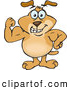 Vector Cartoon Clip Art of a Strong Dog Flexing His Muscles by Dennis Holmes Designs