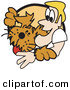 Vector Clip Art of a Blond Man Hugging His Happy Dog on White by Andy Nortnik