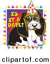 Vector Clip Art of a Cute Beagle Puppy with Big Eyes Wearing a Party Hat by Andy Nortnik