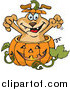 Vector Clip Art of a Dog Popping out of a Halloween Pumpkin by Dennis Holmes Designs