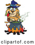 Vector Clip Art of a Dog Witch Stirring a Cauldron by Dennis Holmes Designs