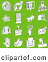 Vector Clip Art of a Group of 16 White Technology Icons on Green by AtStockIllustration