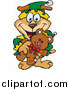 Vector Clip Art of a Happy Dog Elf Holding a Christmas Teddy Bear by Dennis Holmes Designs