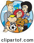 Vector Clip Art of a Happy Family of 4 with a Dog and a Soccer Ball by Andy Nortnik