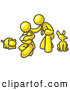 Vector Clip Art of a Happy Yellow Family, Father, Mother and Newborn Baby with Their Dog and Cat by Leo Blanchette