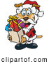 Vector Clip Art of a Jolly Christmas Sparkey Dog Santa Carrying a Bag Full of Presents by Dennis Holmes Designs