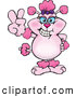 Vector Clip Art of a Pink Poodle Smiling and Gesturing the Peace Sign by Dennis Holmes Designs