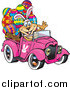 Vector Clip Art of an Easter Dog Wearing Bunny Ears, Waving and Driving a Pink Pickup Truck with Eggs in the Back by Dennis Holmes Designs