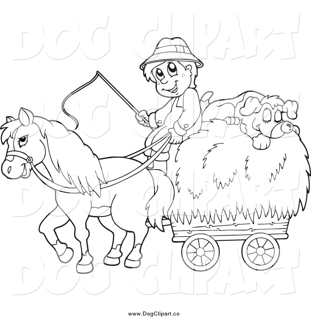 Vector Cartoon Clip Art Of A Black And White Male Farmer
