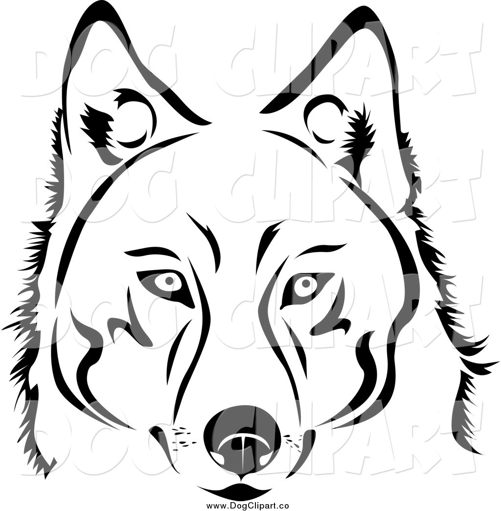 Line Drawing Face Vector : Vector clip art of a face black and white husky dog