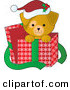 Vector Clip Art of a Cute Yellow Lab Puppy Dog, Peeking out of a Christmas Present Box by Maria Bell